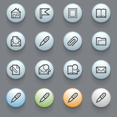 E-mail web icons with color buttons on gray background.