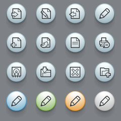 Document web icons with color buttons on gray background.