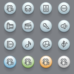 Audio video web icons with color buttons on gray background.