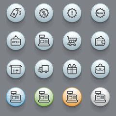 Shopping web icons with color buttons on gray background.