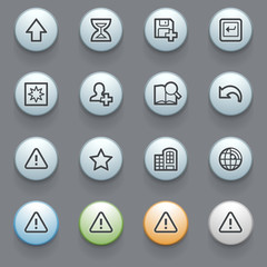 Contour icons with color buttons on gray background. Set 35.