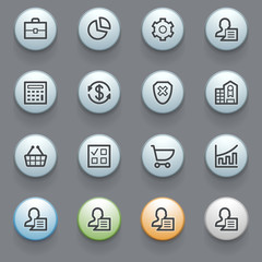Business icons with color buttons on gray background.