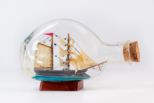 Miniature ship inside a bottle
