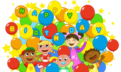 Happy children and a lot of balloons for birthday.