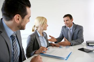 Businessman making marketing presentation