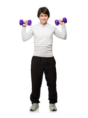 Young Man Holding Dumbbells