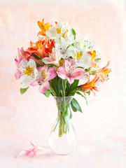 Bouquet of Alstroemeria  on abstract background..
