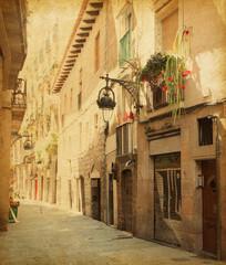 Retro image  of Сarrer de les sitges  street,  Barcelona.