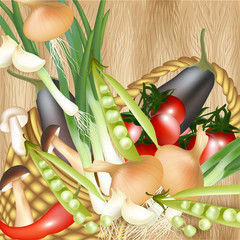 Background with assorted vector vegetables in basket  on wooden