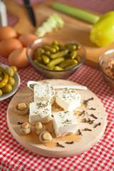 Feta cheese with mushrooms