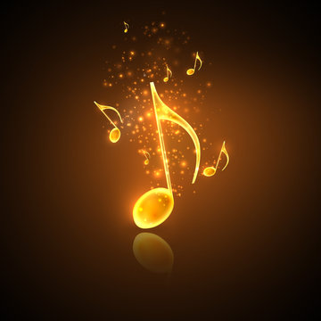 musical background with golden notes