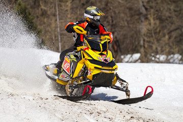 Fototapete - yellow snowmobile