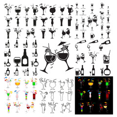 Set of vector cocktails on white background