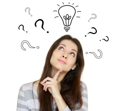 Thinking woman with question signs and light idea bulb above iso