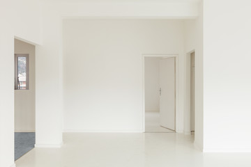 White apartment Interior, view of the rooms