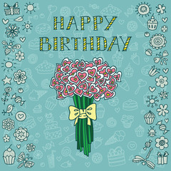 Blue birthday card with bouquet of hearts