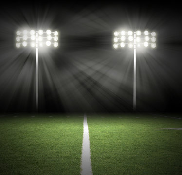 Stadium Game Night Lights on Black