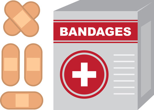 Isolated bandages box with band aids