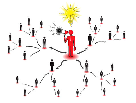 Drawing represents a concept of multi-level marketing