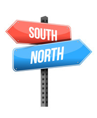 south, north road sign