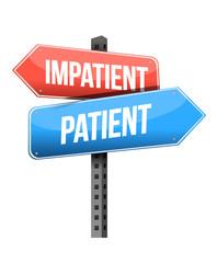 impatient, patient road sign