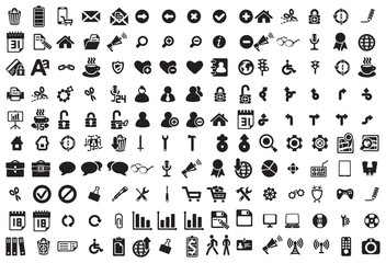 Vector black business icons set on white