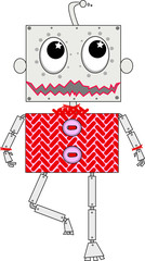 roboter mit rotem Pulli