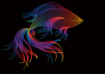 Abstract background with rainbow goldfish
