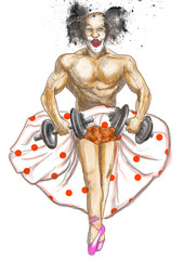 Ugly bodybuilder with dumbbells dressed as a ballerina