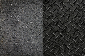 Asphalt Road and Metal Wall Background or Texture