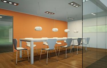 modernes Esszimmer orange
