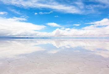 Lake Salar de Uyuni with a thin layer of water