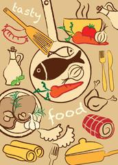 Set food, vector illustration