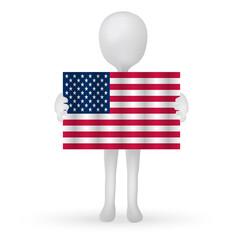 small 3d man hands holding a USA flag