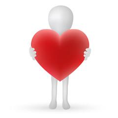 small 3d man hands holding a heart