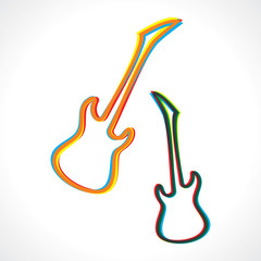 Abstract colorful guitar design stock vector