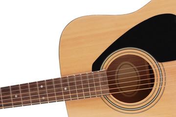 part of wooden guitar