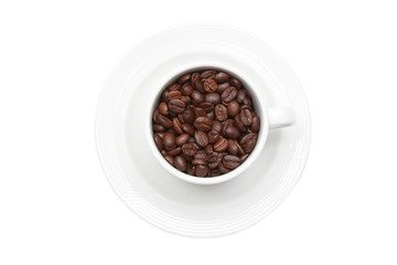 cup of coffee with coffee bean inside from top view