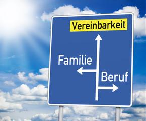 Wegweiser mit Vereinbarkeit, Familie und Beruf