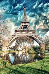 Paris - La Tour Eiffel. Wonderful sunset colors in winter season