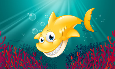 Foto op Canvas Onderzeeer A yellow shark smiling under the sea