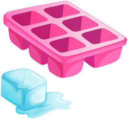 A pink ice tray