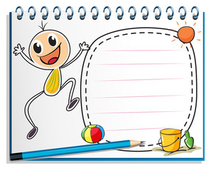 A notebook with a drawing of a child jumping