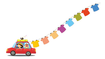 A red car with hanging clothes