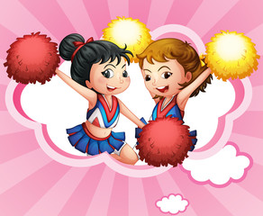 Two young and energetic cheerdancers