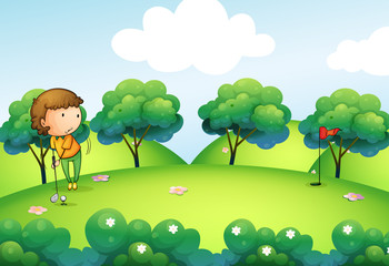 A girl playing golf at the top of the hill
