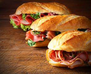 Assorted delicious baguette sandwiches