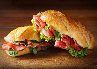 Delicious salami and ham baguettes