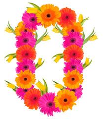 O, flower alphabet isolated on white