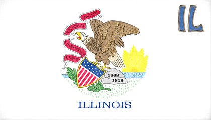 Linen flag of the US state of Illinois